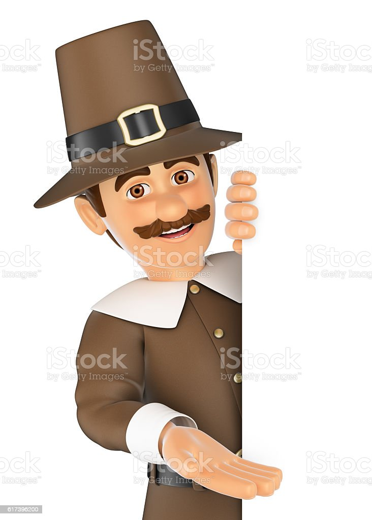 3D Thanksgiving man pointing aside. Blank space stock photo