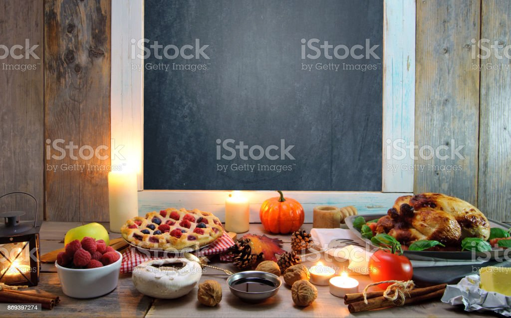Thanksgiving meal background stock photo