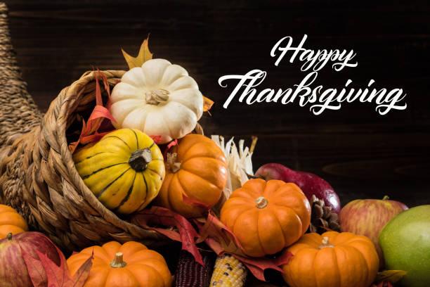 Thanksgiving or fall cornucopia stock photo