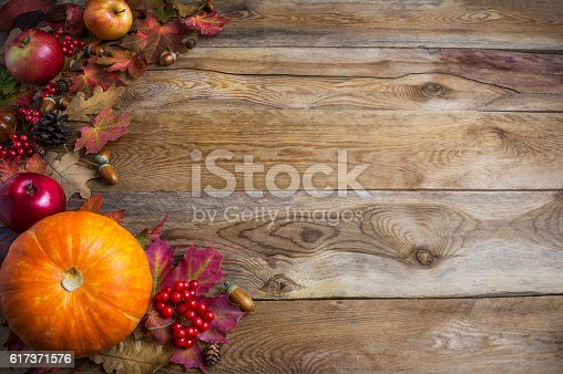 istock Thanksgiving  or fall greeting background with orange pumpkins a 617371576