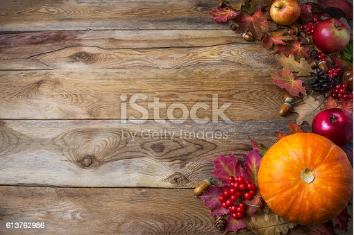 istock Thanksgiving  or fall greeting background with pumpkins and fall 613762986