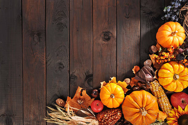Thanksgiving pumpkin, pomegranate, apple, nuts, berries and grain on old weathered wooden floor anhydrous stock pictures, royalty-free photos & images
