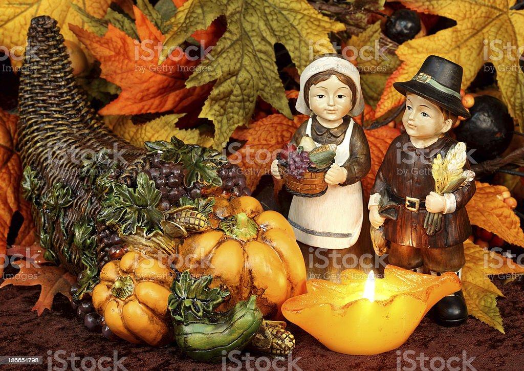 Thanksgiving Pilgrims Cornucopia Autumn Leaves royalty-free stock photo