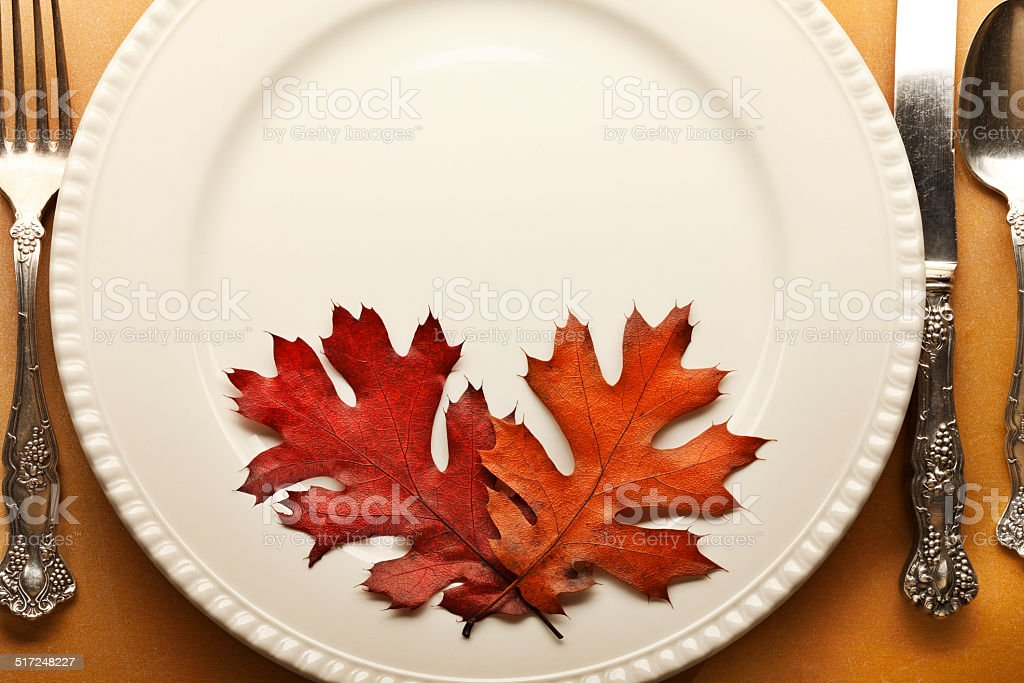 Thanksgiving Place Setting With Fall Leaves stock photo