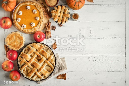istock Thanksgiving pumpkin and apple various pies 1033295448