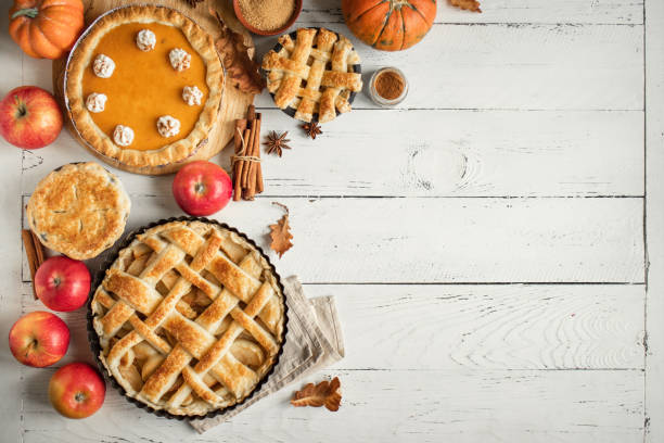 thanksgiving pumpkin and apple various pies - thanksgiving stock pictures, royalty-free photos & images