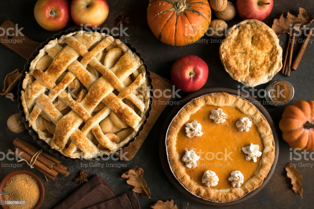 Thanksgiving pumpkin and apple various pies - Royalty-free Abóbora-Menina - Cucúrbita Foto de stock