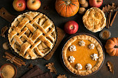 Thanksgiving pumpkin and apple various pies
