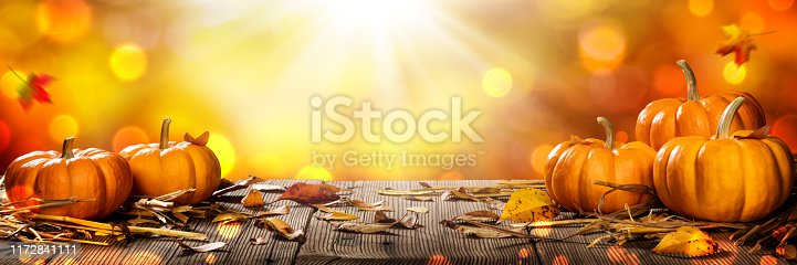 Mini Thanksgiving Pumpkins And Leaves On Rustic Wooden Table With Sunlight And Bokeh On Orange Background - Thanksgiving / Harvest Concept