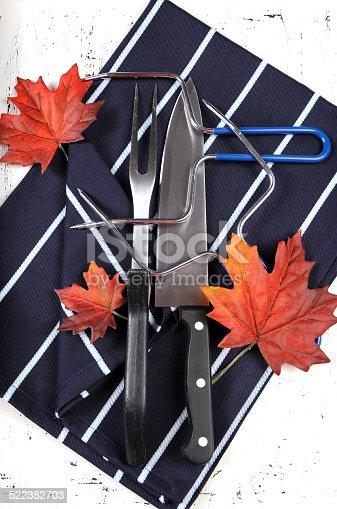 istock Thanksgiving roast turkey carving utensils set 522382703