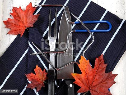 istock Thanksgiving roast turkey carving utensils set 522382705