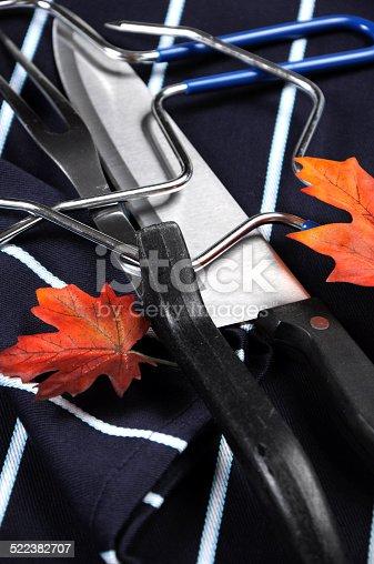 istock Thanksgiving roast turkey carving utensils set 522382707