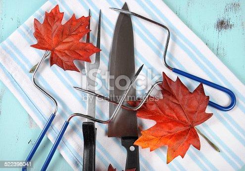 istock Thanksgiving roast turkey carving utensils set 522398041