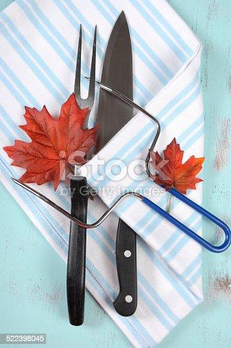 istock Thanksgiving roast turkey carving utensils set 522398045