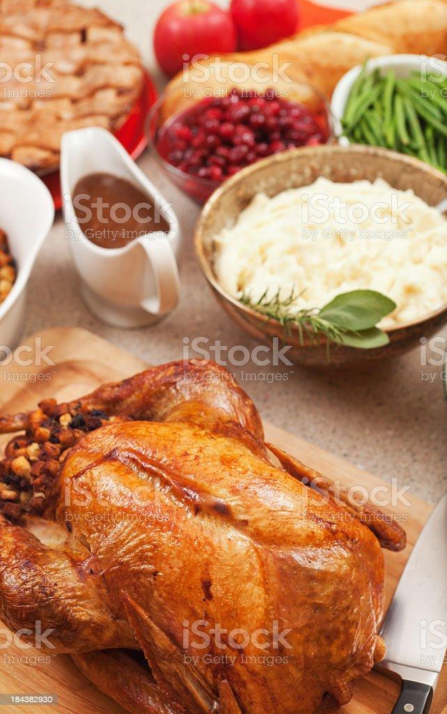 Thanksgiving Roast Turkey Dinner, Holiday Party Meal Celebrating Food Abundance royalty-free stock photo
