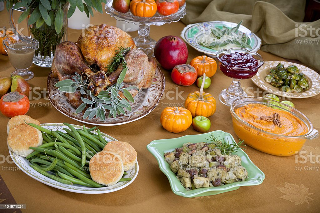 Thanksgiving Roast Turkey Dinner Party Buffet Table royalty-free stock photo