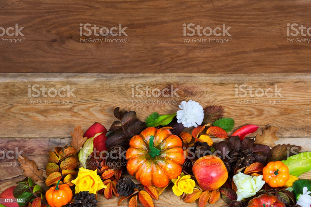 Thanksgiving Rustic Table Centerpiece With Pumpkins And Pine Cones Stock Photo Download Image Now Istock
