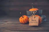 istock Thanksgiving still life with baby pumpkins and Happy Thanksgiving message 867223200