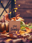istock Thanksgiving still life with message of thanks 873425686
