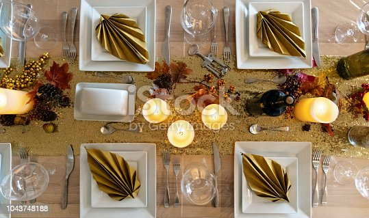 Thanksgiving table from directly from above