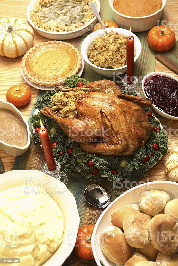 Thanksgiving table stock photo