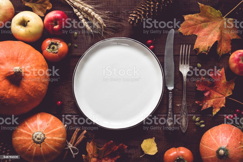 Thanksgiving table setting stock photo