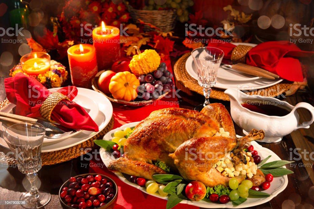 Thanksgiving turkey dinner stock photo