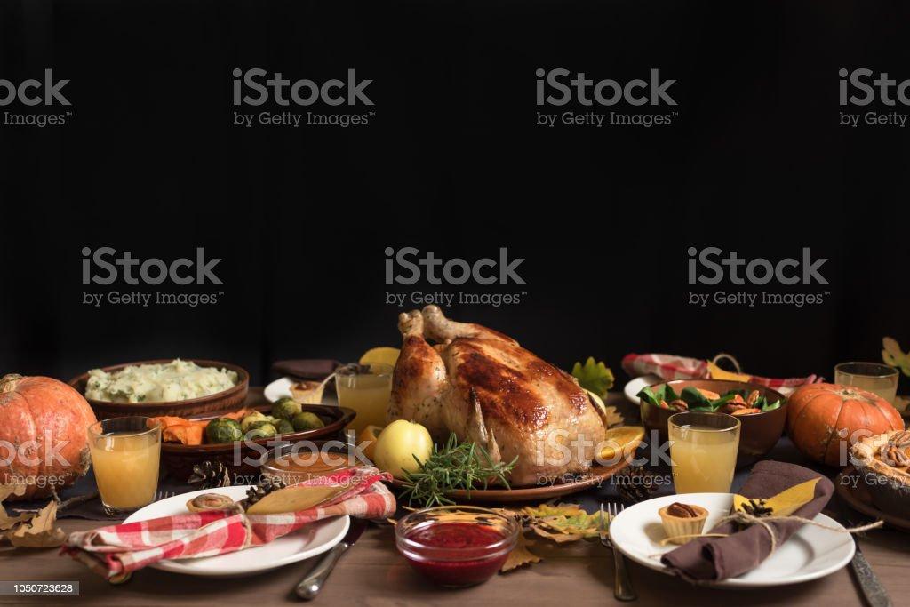 Cena de pavo de acción de gracias - foto de stock
