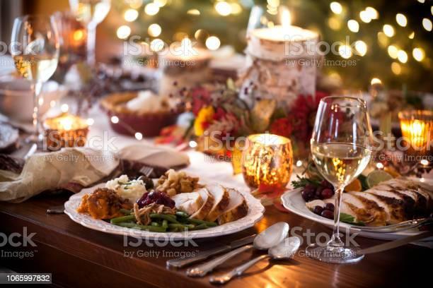 Ringraziamento Turchia Cena - Fotografie stock e altre immagini di Ambientazione interna