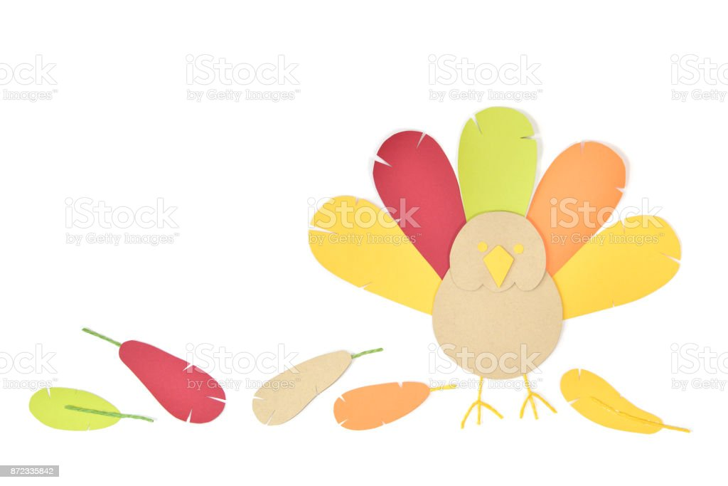 Thanksgiving turkey paper cut on white background stock photo