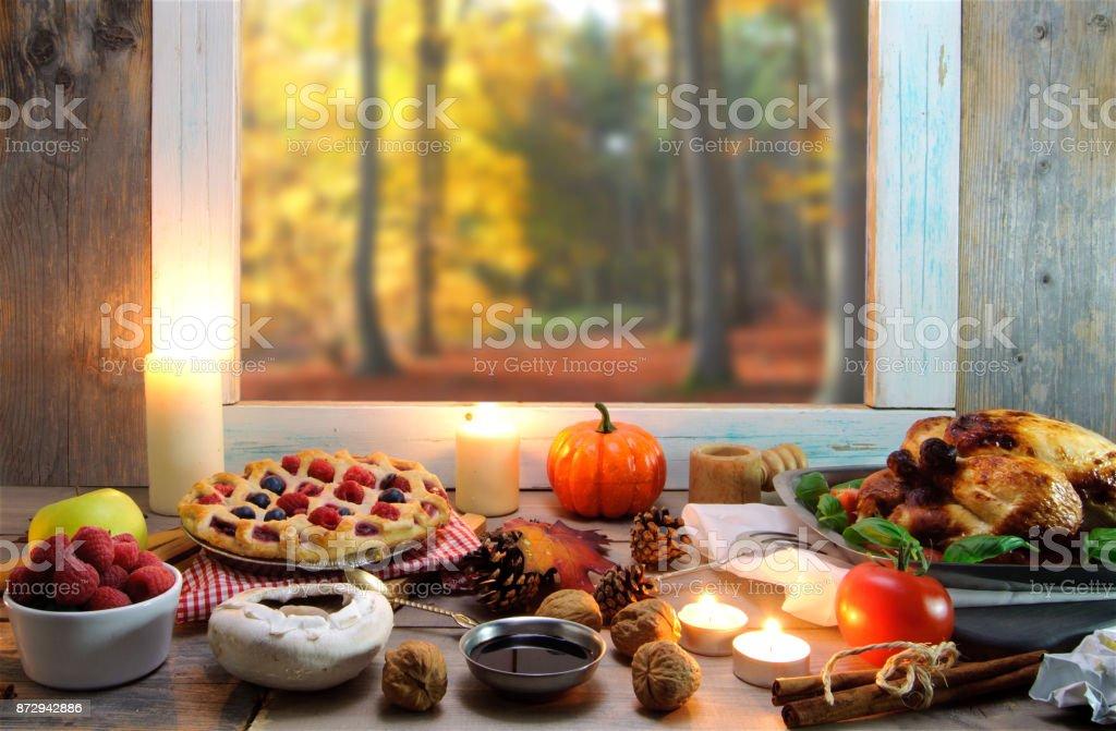 Thanksgiving window background stock photo