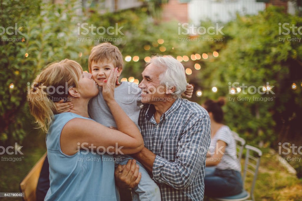 Thanksgiving with grandparents stock photo
