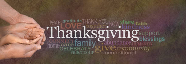 Thanksgiving Word Cloud Website Banner stock photo