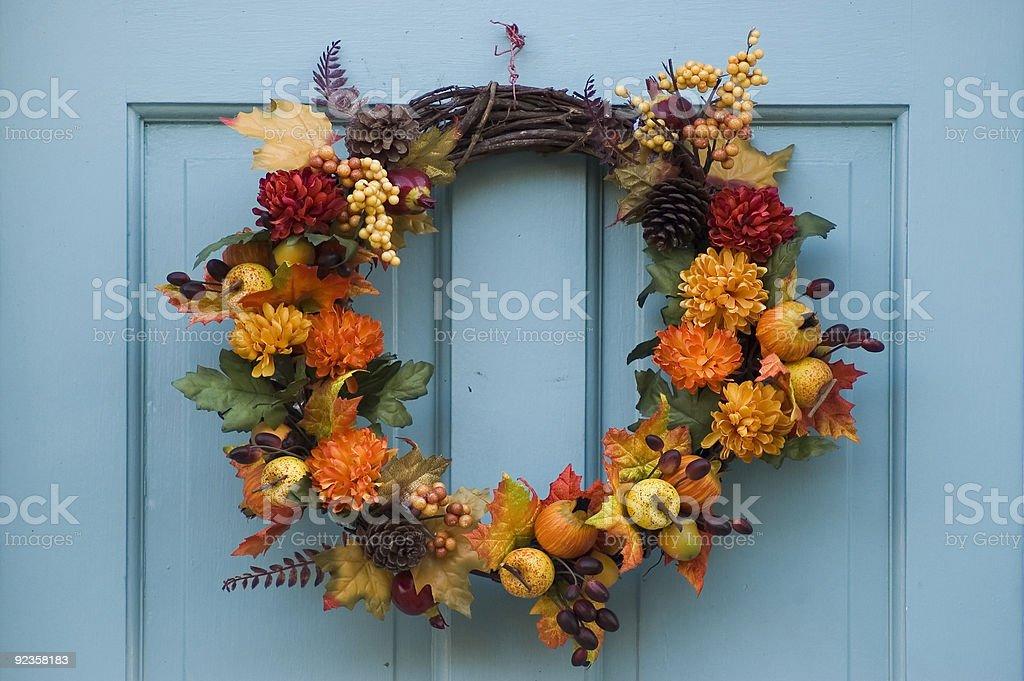 Thanksgiving wreath on a blue door stock photo