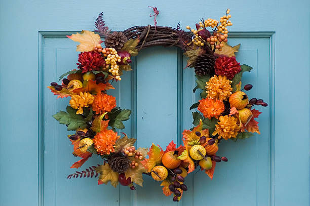 Thanksgiving wreath on a blue door stock photo
