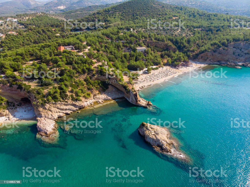 Thasos Island beach and bays aerial view stock photo