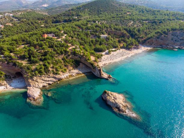 Thasos Island beach and bays aerial view stock photo