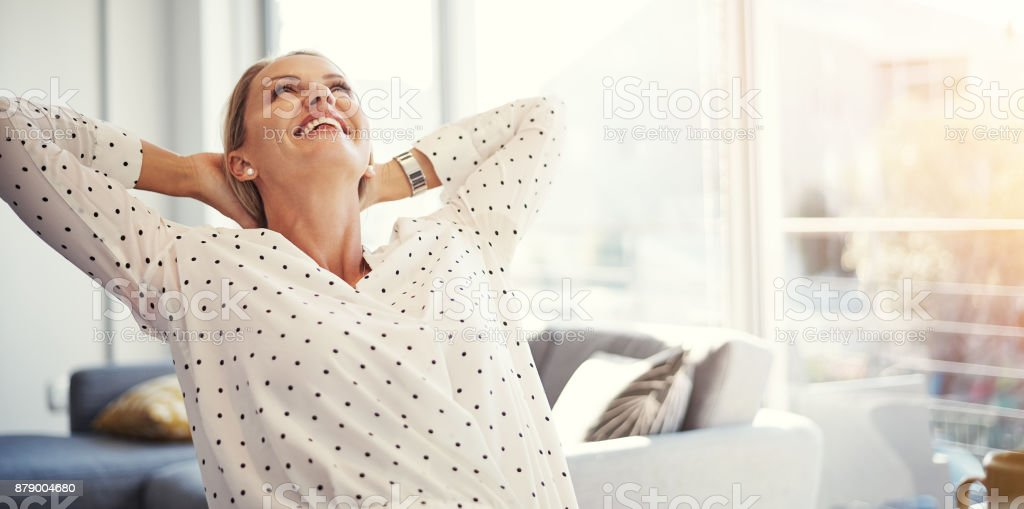 That amazing feeling when you done with your work stock photo
