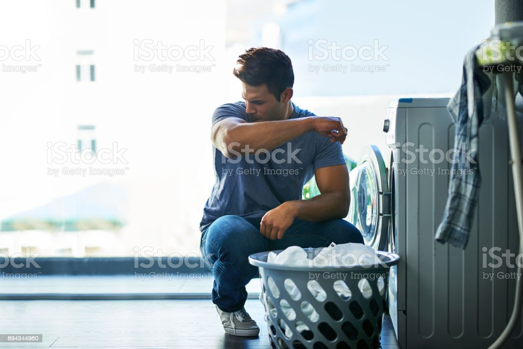 That doesn't smell good, this needs to be washed too stock photo