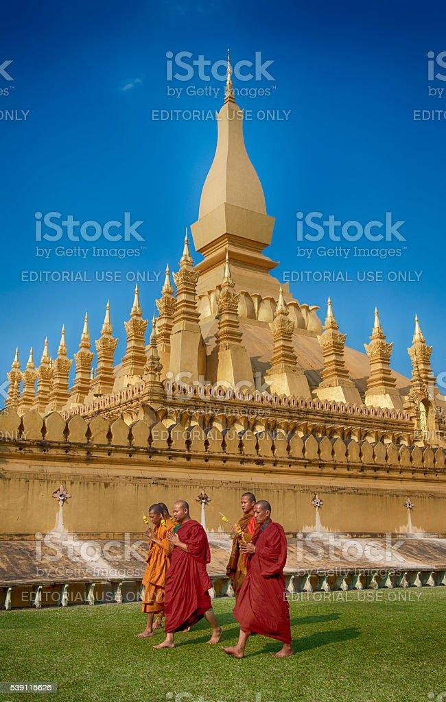 That Luang Stupa, landmark of Vientiane, Lao PDR stock photo
