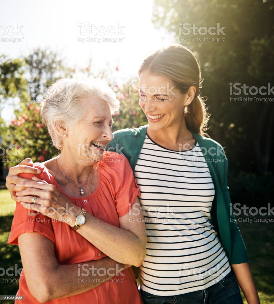 That mother daughter bond...the gift that keeps on giving stock photo