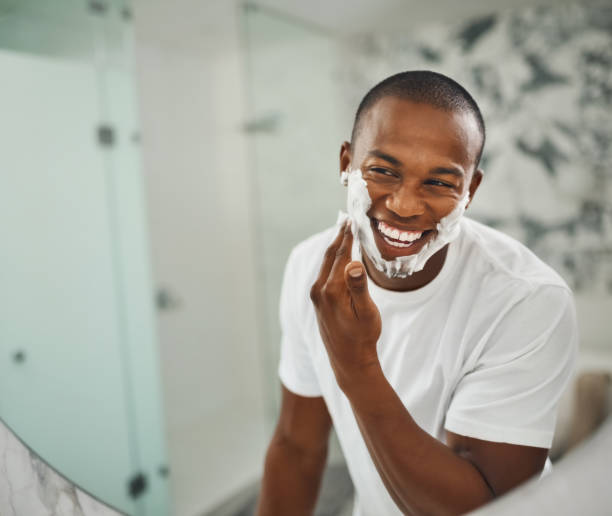 that super close shave for super soft skin - shaving cream stock pictures, royalty-free photos & images