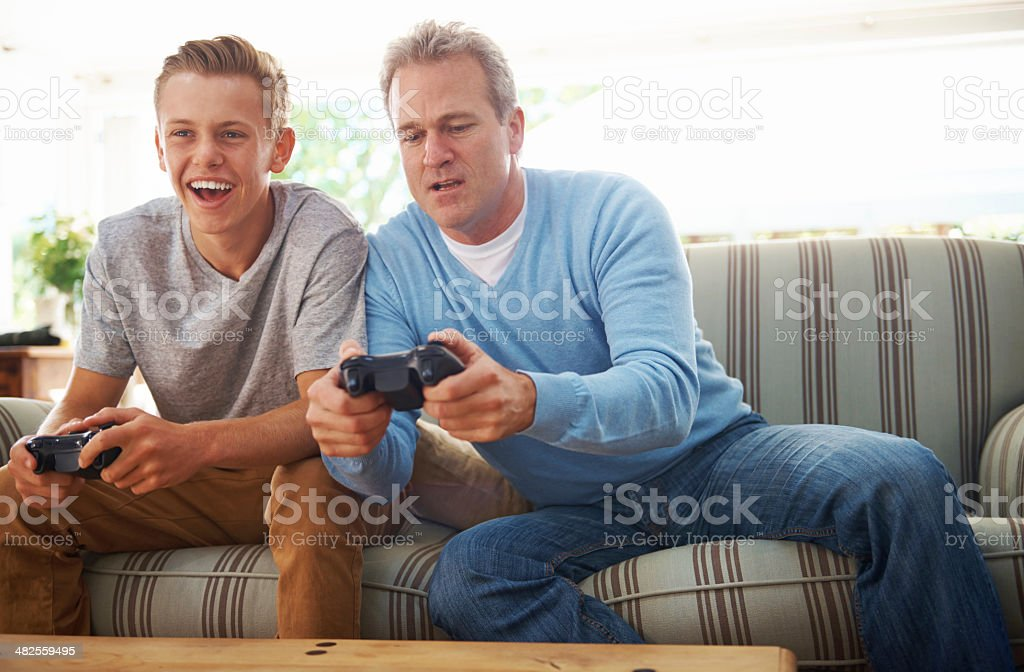 That was an awesome move, Dad! stock photo