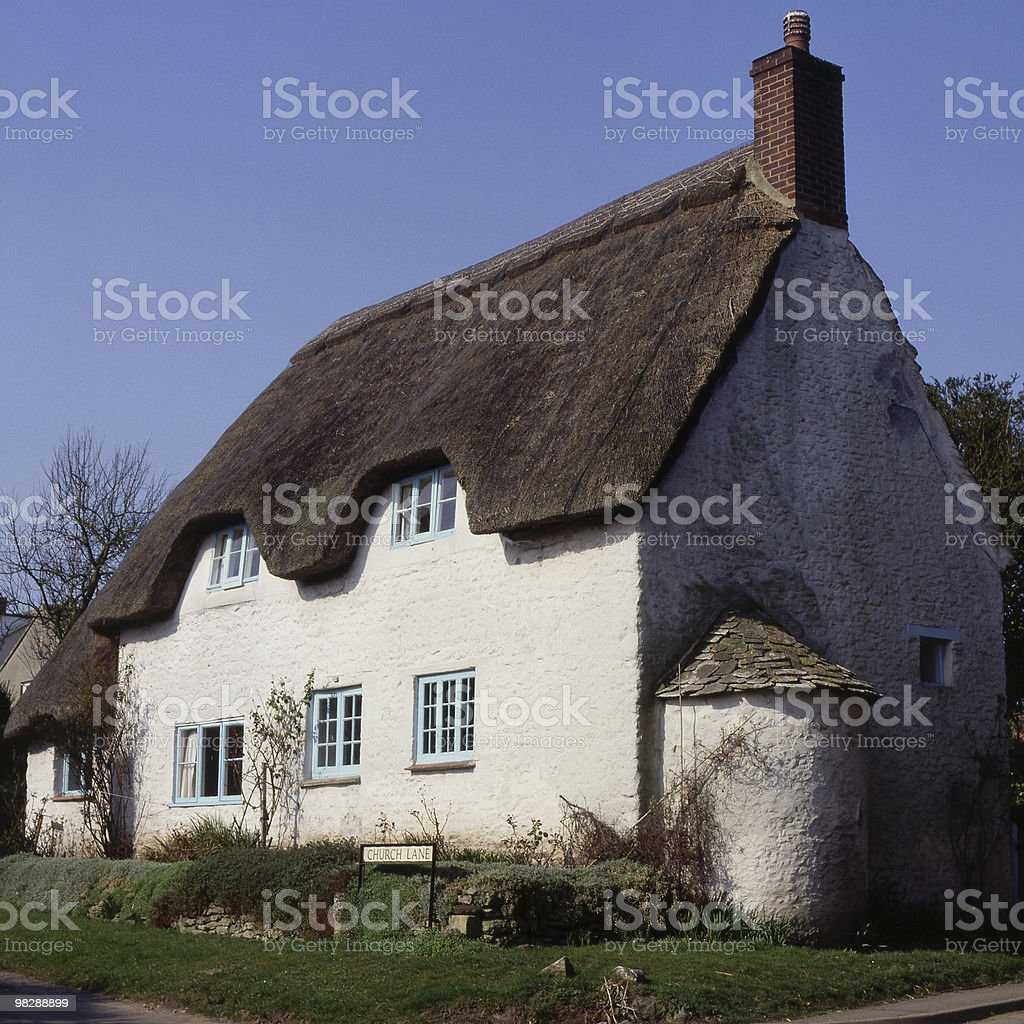 Thatched Cottage at Fernham in Oxfordshire. England royalty-free stock photo
