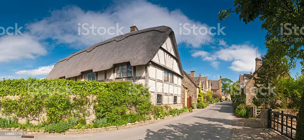 Thatched cottage idyllic country village royalty-free stock photo
