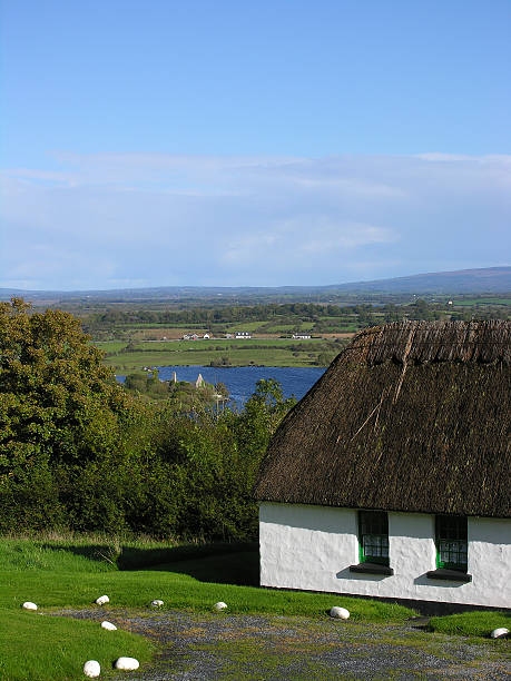 thatched cottage in ireland - county clare stock pictures, royalty-free photos & images