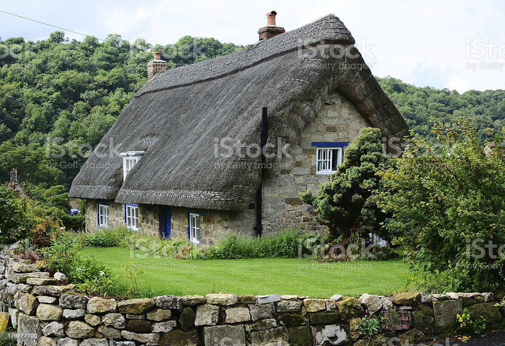 Thatched cottage in Yorkshire, England stock photo