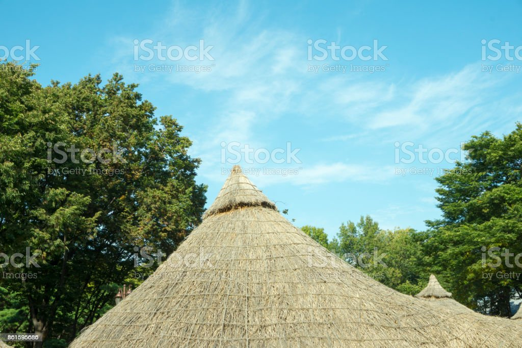 A thatched cottage stock photo