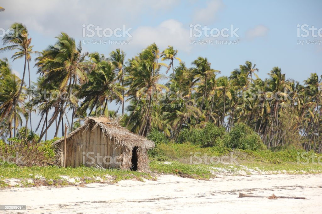 Thatched Hut at Mchanga Beach, Zanzibar, Indian Ocean, Africa royalty-free stock photo