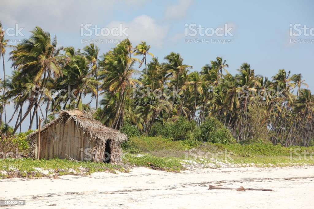 Thatched Hut at Mchanga Beach, Zanzibar, Indian Ocean, Africa royalty-free stock photo